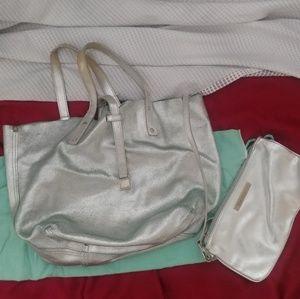 Rare Tiffany & co silver teal reversible hobo bag